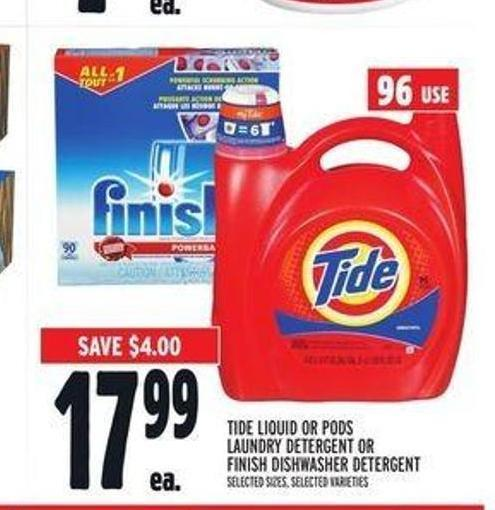 Tide Liquid or PODS Laundry Detergent or Finish Dishwasher Detergent