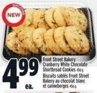 Front Street Bakery Cranberry White Chocolate Shortbread Cookies 456 g