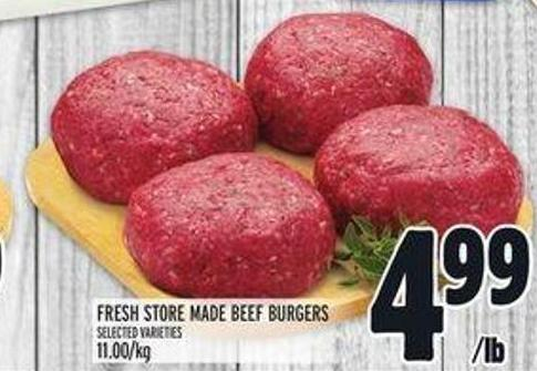 Fresh Store Made Beef Burgers