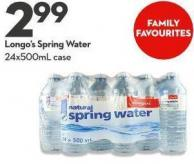 Longo's Spring Water 24x500ml Case
