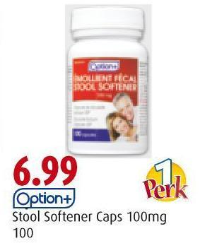 Option+ Stool Softener Caps 100mg 100
