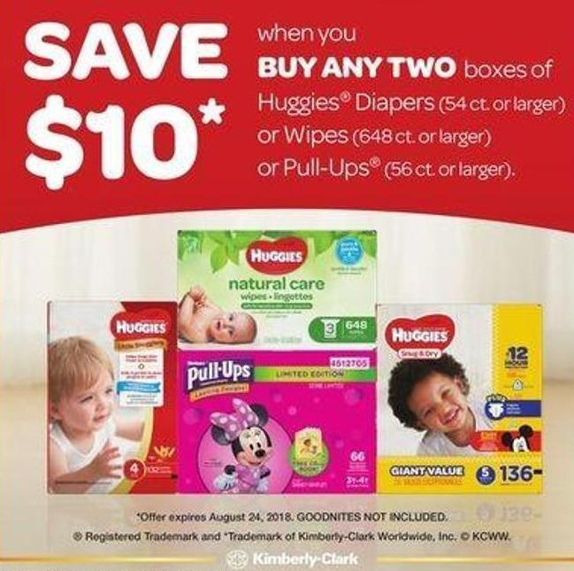 Huggies Diapers (54 Ct. Or Larger) Or Wipes (648 Ct. Or Larger) Or Pull-ups (56 Ct. Or Larger)