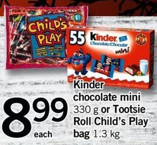 Kinder Chocolate Mini - 330 G Or Tootsie Roll Child's Play Bag - 1.3 Kg