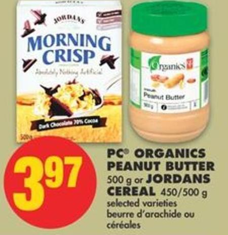 PC Organics Peanut Butter - 500 g or Jordans Cereal - 450/500 g