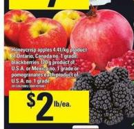 Honeycrisp Apples - Blackberries - 170 G Or Pomegranates