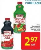 Heinz Tomato Juice 1.82 L or Tomato Cocktail 1.89 L
