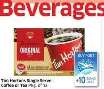 Tim Hortons Single Serve Coffee or Tea Pkg of 12 - + 10 Air Miles Bonus Miles