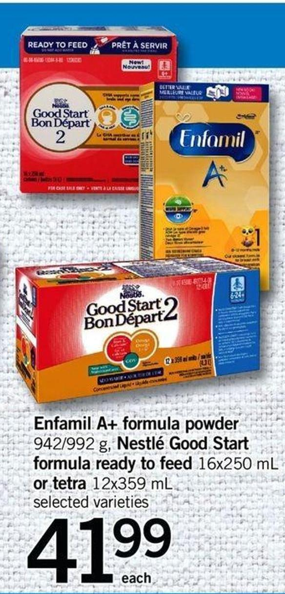 Nfamil A+ Formula Powder - 942/992 G - Nestlé Good Start Formula Ready To Feed - 16x250 Ml Or Tetra - 12x359 Ml
