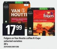 Folgers Or Van Houtte Coffee K-cups - 30's