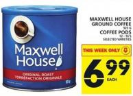 Maxwellhouse Ground Coffee Or Coffee PODS