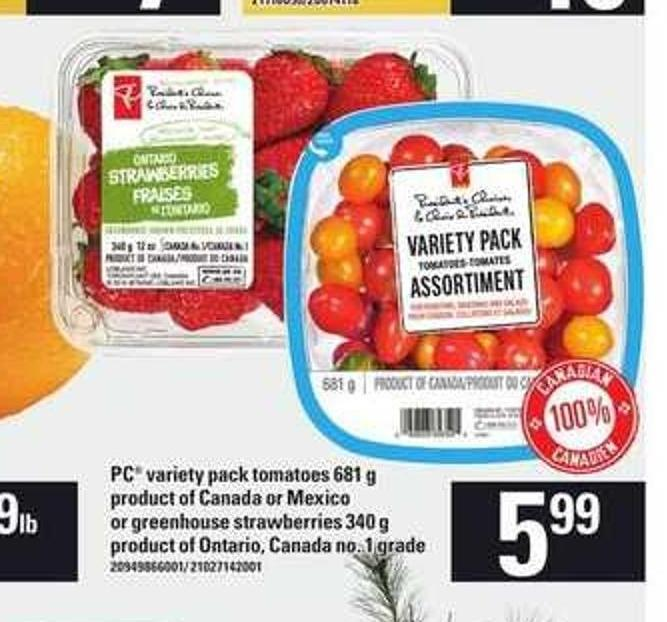 PC Variety Pack Tomatoes - 681 g Or Greenhouse Strawberries - 340 g