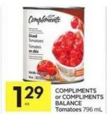 Compliments or Compliments Balance Tomatoes