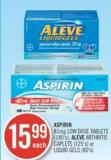 Aspirin 81 Mg Low Dose Tablets (180's) - Alive Arthritis Caplets (125's) or Liquid Gels (80's)