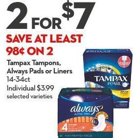 Tampax Tampons -  Always Pads or Liners 14-34ct