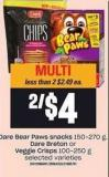 Dare Bear Paws Snacks - 150-270 g - Dare Breton or Veggie Crisps - 100-250 g
