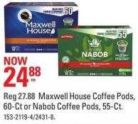 Maxwell House Coffee Pods - 60-ct or Nabob Coffee Pods - 55-ct