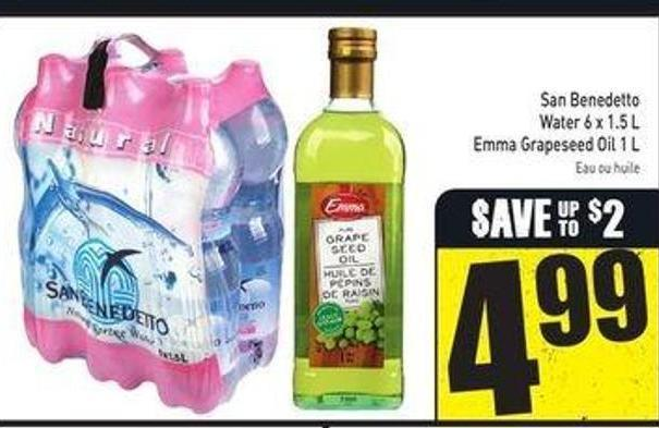 San Benedetto Water 6 X 1.5 L Emma Grapeseed Oil 1 L