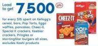 Kellogg's Cereal - Bars - Pop Tarts - Eggo Waffles - Pancakes - Cheez-it - Special K Crackers - Keebler Crackers - Pringles Or Morningstar Burgers