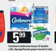 Cashmere Bathroom Tissue - 12 Double Rolls - Spongetowels Paper Towels - 6 Rolls - Scotties Facial Tissue - 6 Pk.