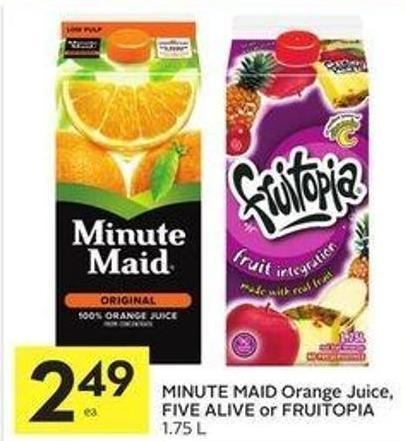 Minute Maid Orange Juice - Five Alive or Fruitopia 1.75 L