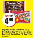 Regal Rockets Candy Rolls 700 g Deli Jeliies Bag 400 g Tootsie Snack Bar 35 Pk Candy Kidz Pik Bag 700 g