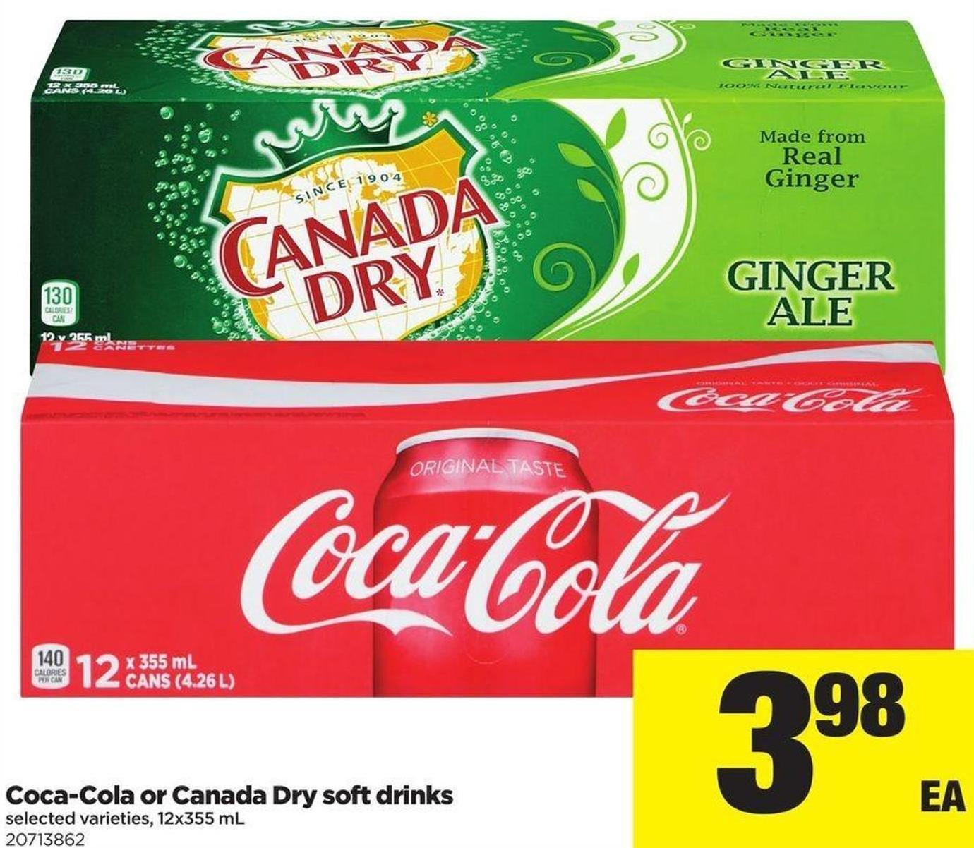 Coca-cola Or Canada Dry Soft Drinks - 12x355 mL