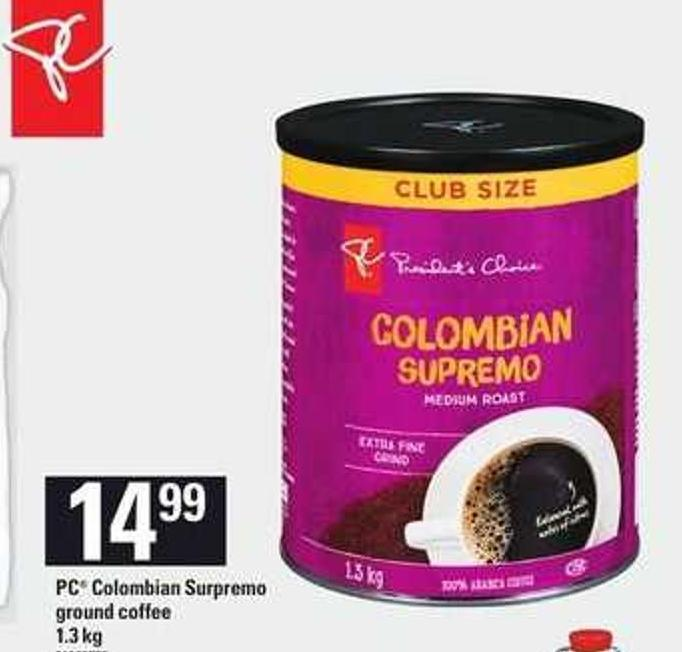 PC Colombian Surpremo Ground Coffee - 1.3 Kg