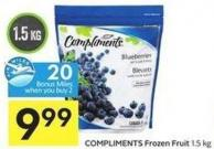 Compliments Frozen Fruit 1.5 Kg - 20 Air Miles Bonus Miles