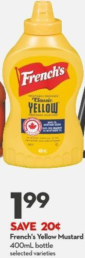 French's Yellow Mustard 400ml Bottle