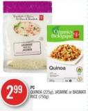 PC Quinoa (225g) - Jasmine or Basmati Rice (750g)