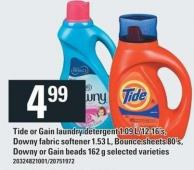 Tide Or Gain Laundry Detergent 1.09 L/12-16's - Downy Fabric Softener 1.53 L - Bounce Sheets 80's - Downy Or Gain Beads 162 G