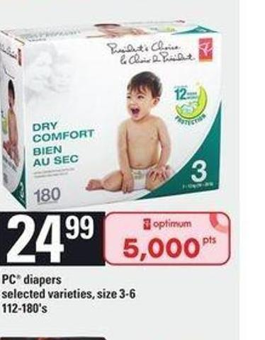 PC Diapers - 112-180's