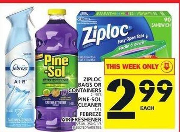 Ziploc Bags Or Containers or Pine-sol Cleaner or Febreze Air Freshener