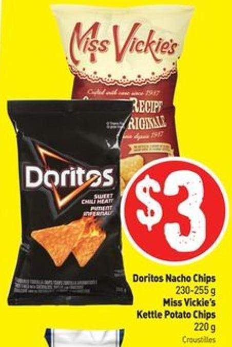 Doritos Nacho Chips 230-255 g Miss Vickie's Kettle Potato Chips 220 g