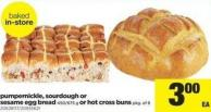 Pumpernickle - Sourdough Or Sesame Egg Bread - 450/675 G Or Hot Cross Buns - Pkg Of 8