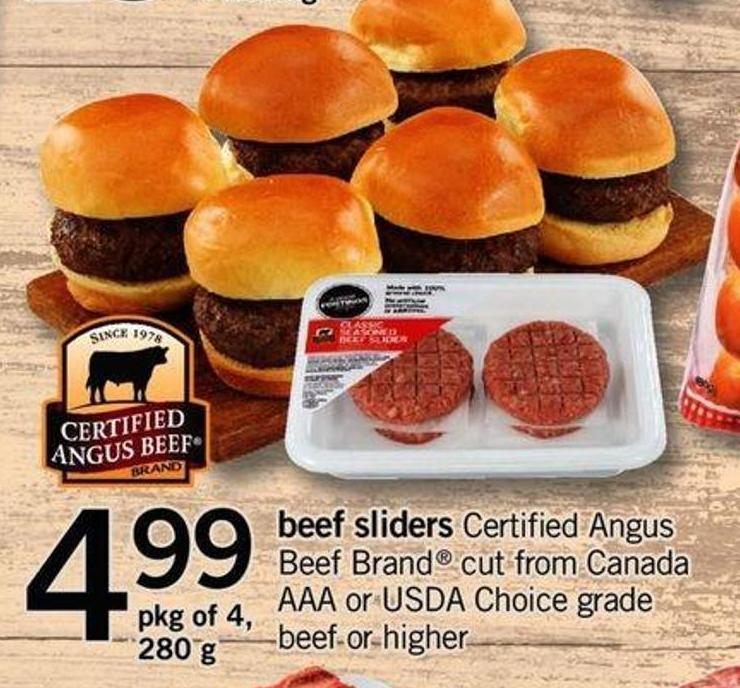 Beef Sliders Certified Angus Beef Brand Cut From Canada Aaa Or Usda Choice Grade Beef Or Higher - Pkg Of 4.