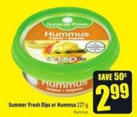 Summer Fresh Dips or Hummus 227 g