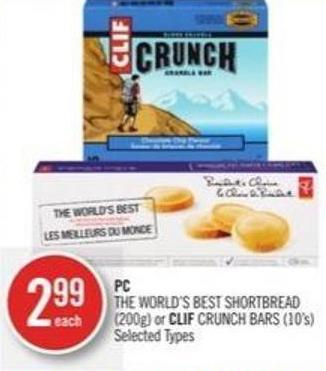 PC The World's Best Shortbread (200g) or Clif Crunch Bars (10's