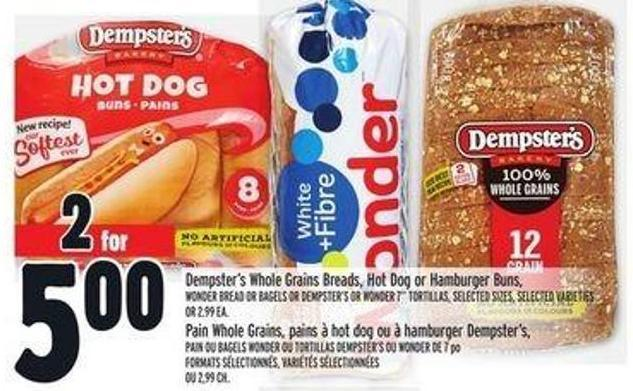 Dempster's Whole Grains Breads - Hot Dog Or Hamburger Buns