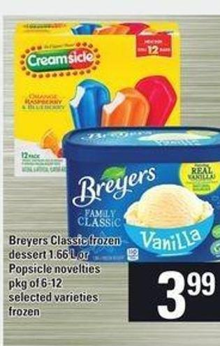 Breyers Classic Frozen Dessert - 1.66 L Or Popsicle Novelties - Pkg Of 6-12