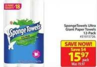 Spongetowels Ultra Giant Paper Towels 12-pack