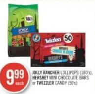 Jolly Rancher Lollipops (180's) - Hershey Mini Chocolate Bars or Twizzler Candy (50's)