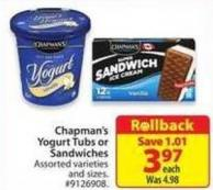 Chapman's Yogurt Tubs or Sandwiches