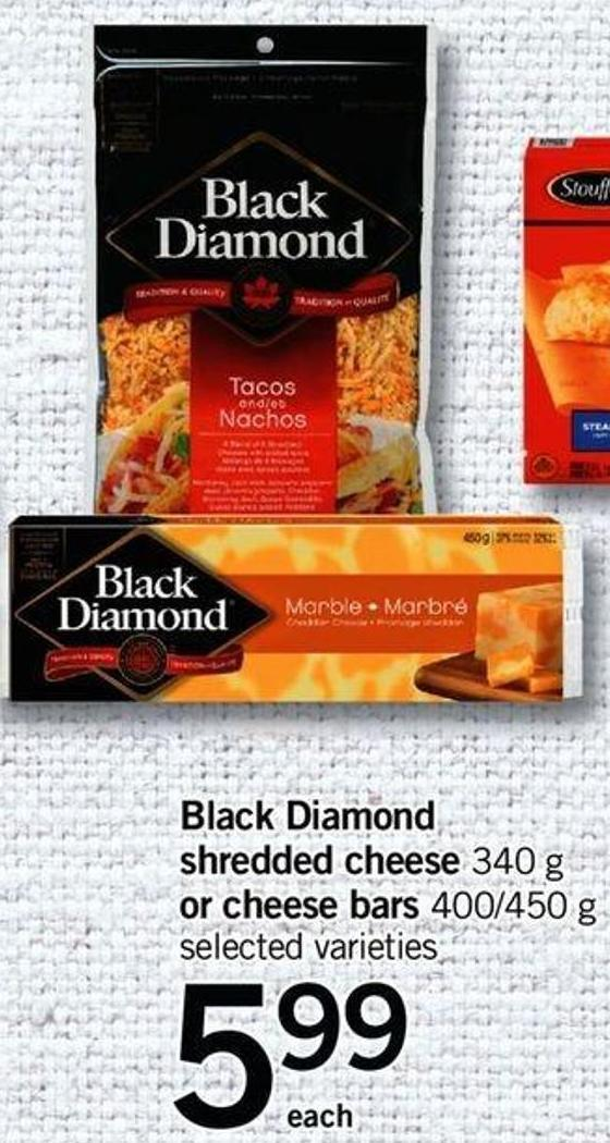Black Diamond Shredded Cheese - 340 G Or Cheese Bars - 400/450 G