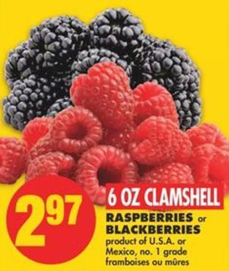 Raspberries Or Blackberries - 6 Oz Clamshell