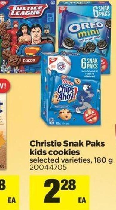 Christie Snak Paks Kids Cookies - 180 g