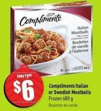 Compliments Italian or Swedish Meatballs Frozen 680 g