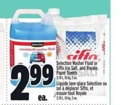 Selection Washer Fluid Or Sifto Ice Salt - And Royale Paper Towels