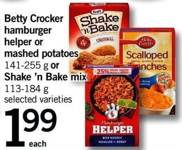 Betty Crocker Hamburger Helper Or Mashed Potatoes - 141-255 G Or Shake 'N Bake Mix - 113-184 G