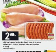 Chicken Breasts Family Size - Fresh - Bone-in Skinless Or Butcher's Choice Sausage
